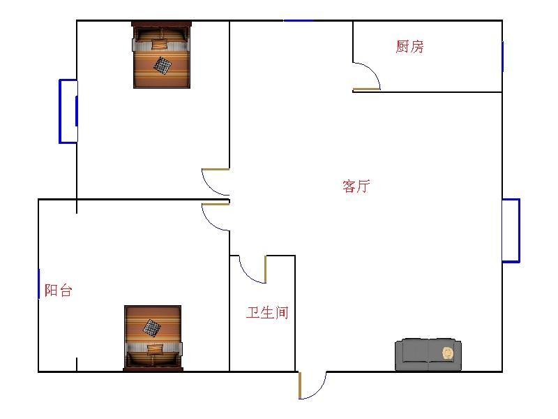 乾城尊府 2室2厅  简装 75万