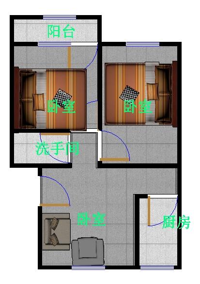 金卉小区 2室2厅 5楼