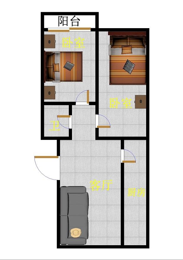 金卉小区 2室1厅 双证齐全过五年 简装 35万