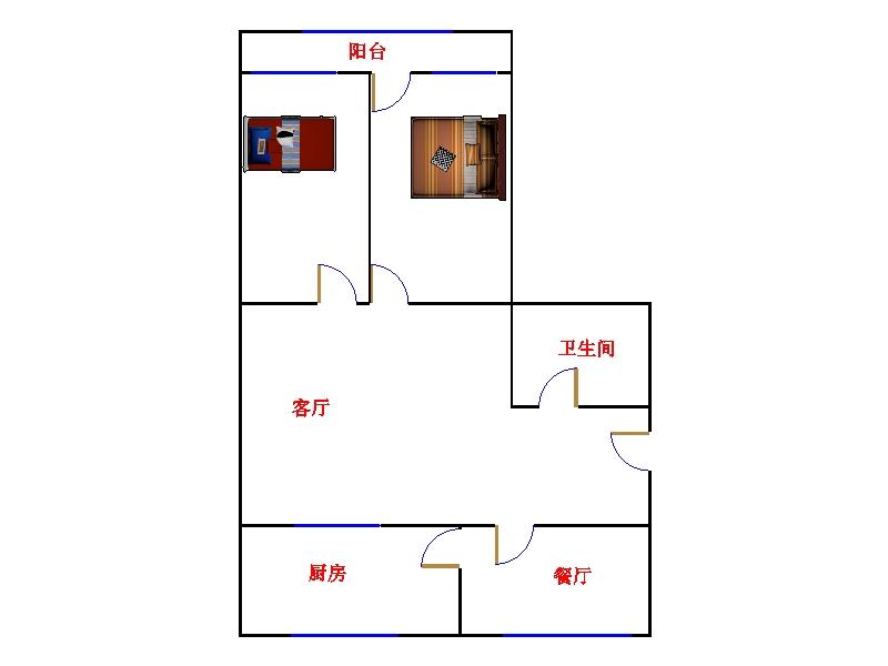 二中宿舍 2室1厅 5楼