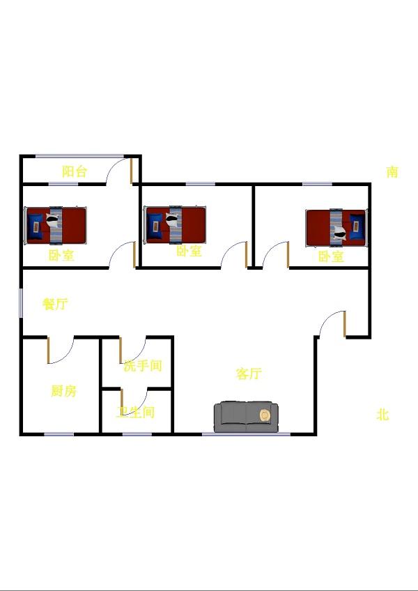 兆日花园 3室2厅 双证齐全过五年 简装 80万