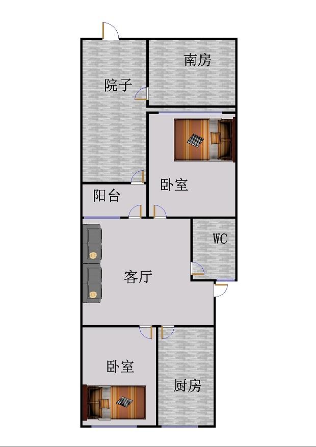 北园小区 2室2厅 1楼