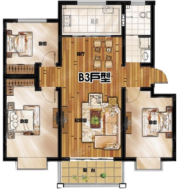 万象城 3室2厅 3楼